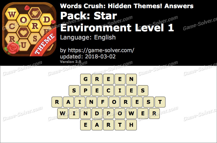Words Crush Star-Environment Level 1 Answers