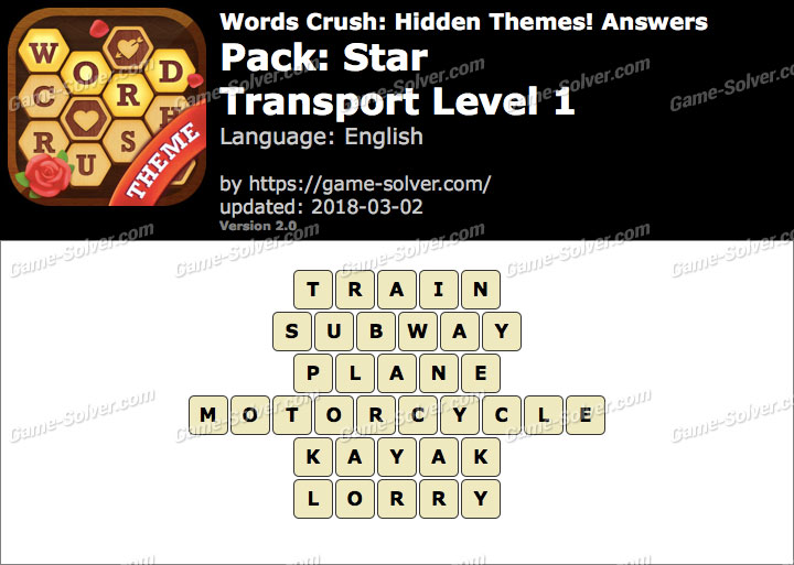 Words Crush Star-Transport Level 1 Answers