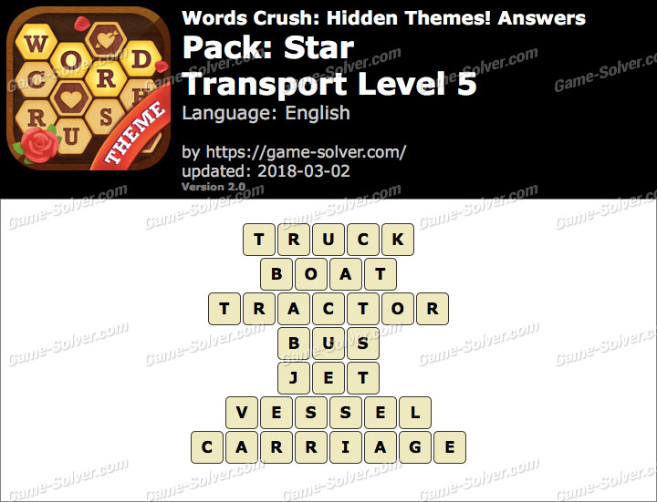 Words Crush Star-Transport Level 5 Answers