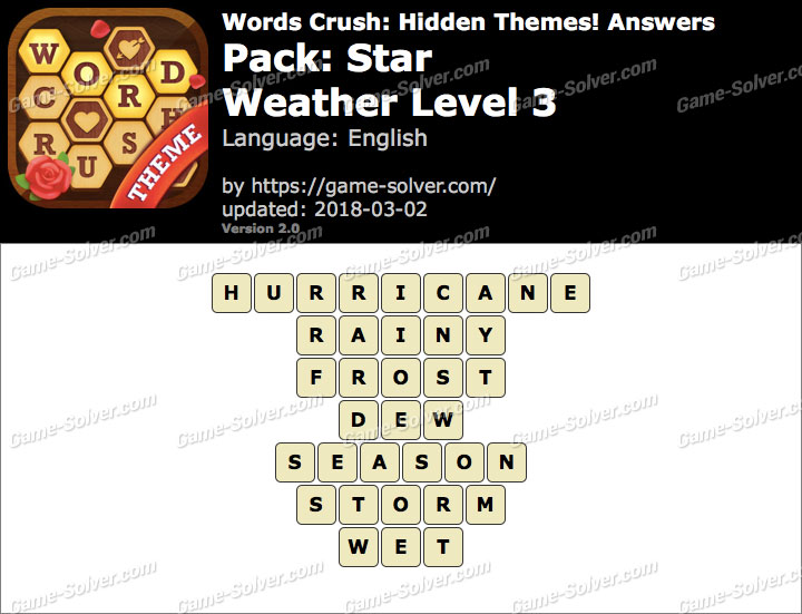 Words Crush Star-Weather Level 3 Answers