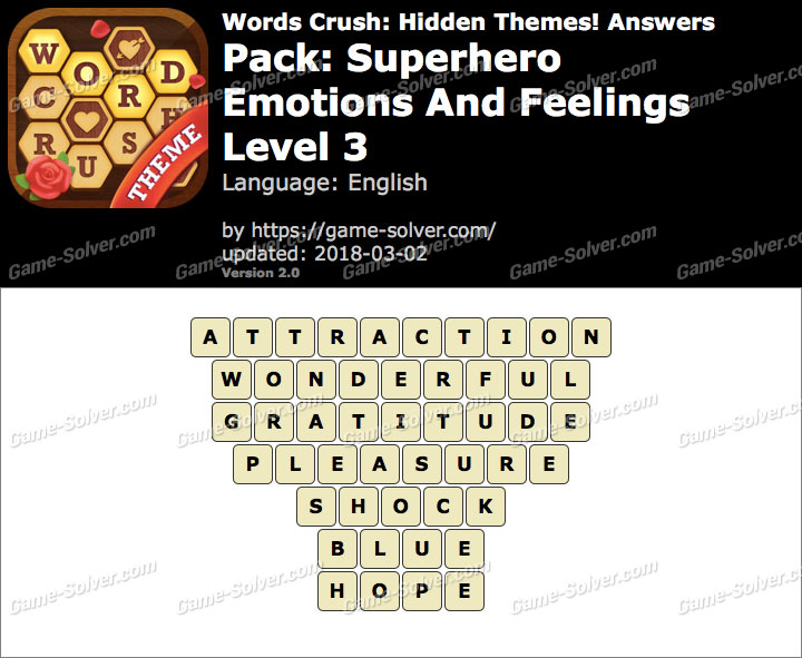 Words Crush Superhero-Emotions And Feelings Level 3 Answers