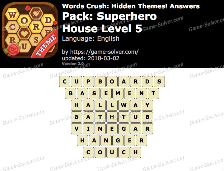 Words Crush Superhero-House Level 5 Answers