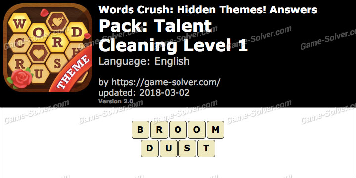 Words Crush Talent-Cleaning Level 1 Answers