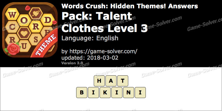 Words Crush Talent-Clothes Level 3 Answers