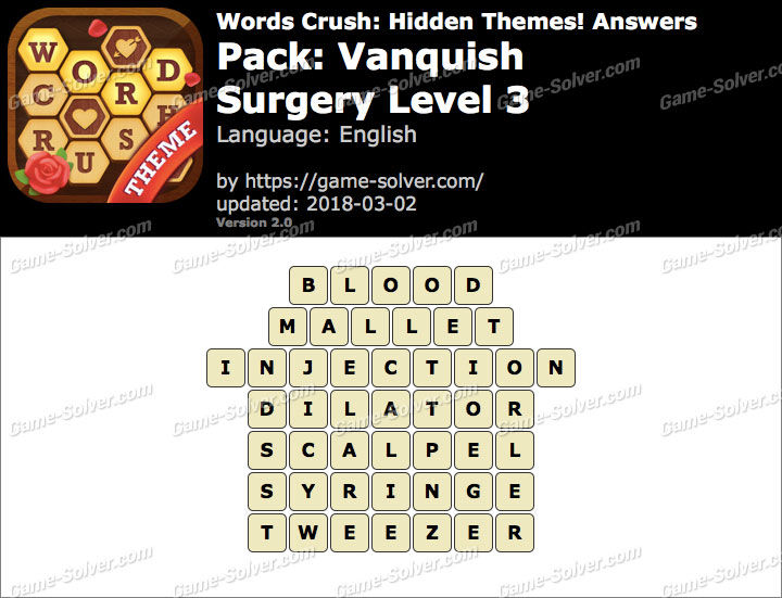 Words Crush Vanquish-Surgery Level 3 Answers