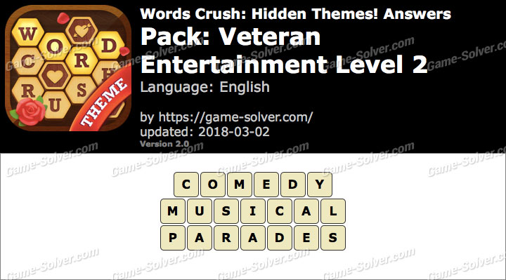 Words Crush Veteran-Entertainment Level 2 Answers