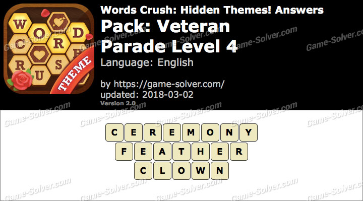 Words Crush Veteran-Parade Level 4 Answers