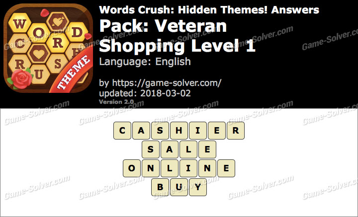 Words Crush Veteran-Shopping Level 1 Answers