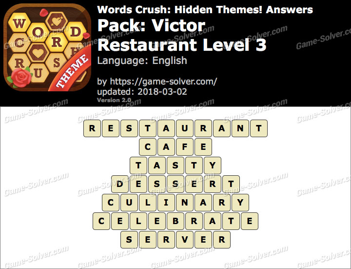 Words Crush Victor-Restaurant Level 3 Answers