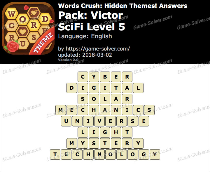 Words Crush Victor-SciFi Level 5 Answers