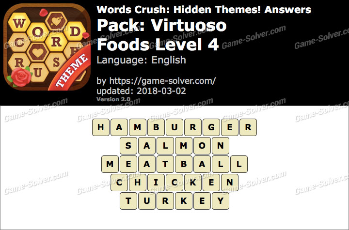 Words Crush Virtuoso-Foods Level 4 Answers
