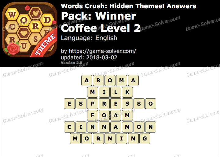 Words Crush Winner-Coffee Level 2 Answers
