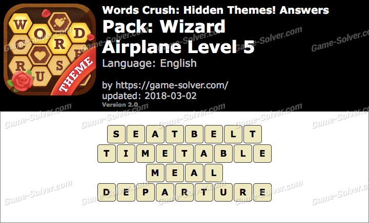 Words Crush Wizard-Airplane Level 5 Answers
