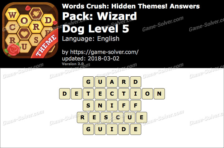 Words Crush Wizard-Dog Level 5 Answers