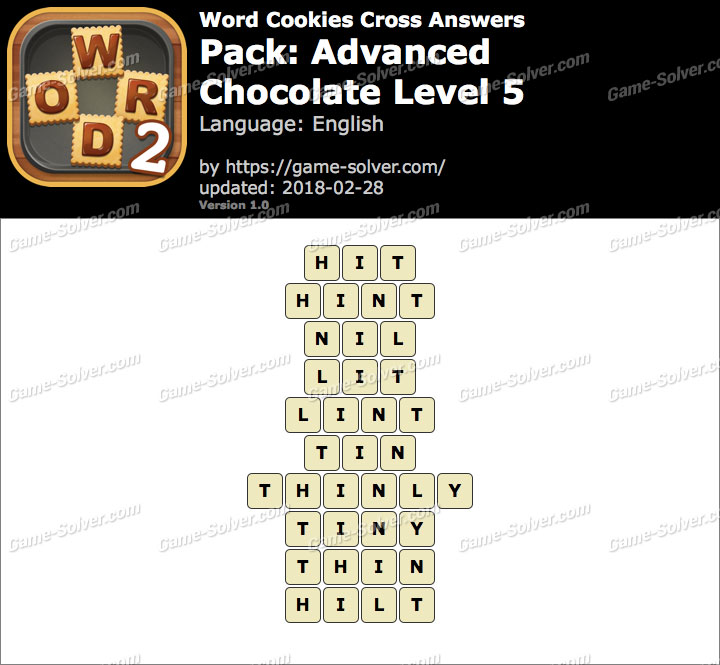 Word Cookies Cross Advanced-Chocolate Level 5 Answers