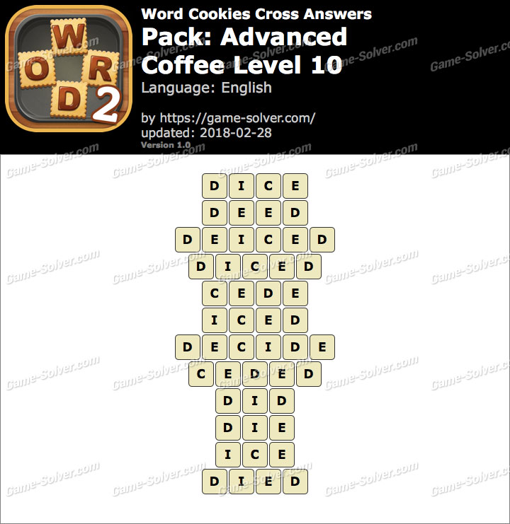 Word Cookies Cross Advanced-Coffee Level 10 Answers