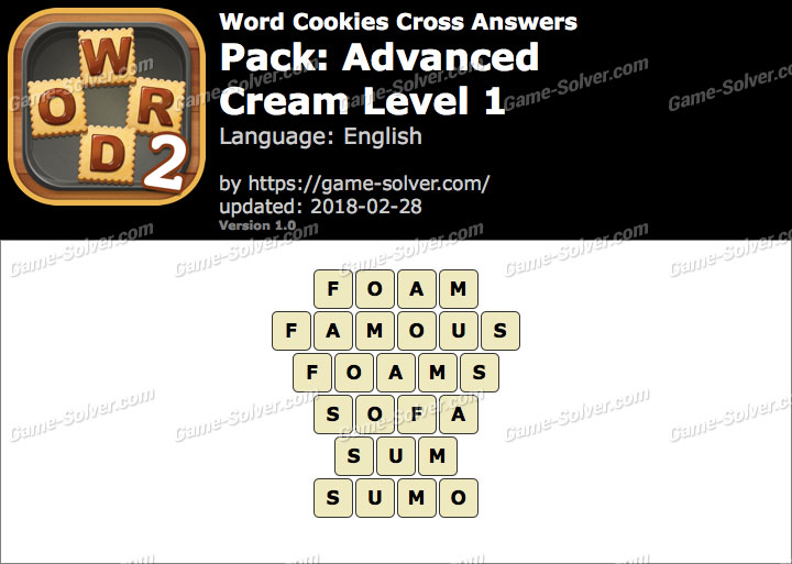 Word Cookies Cross Advanced-Cream Level 1 Answers
