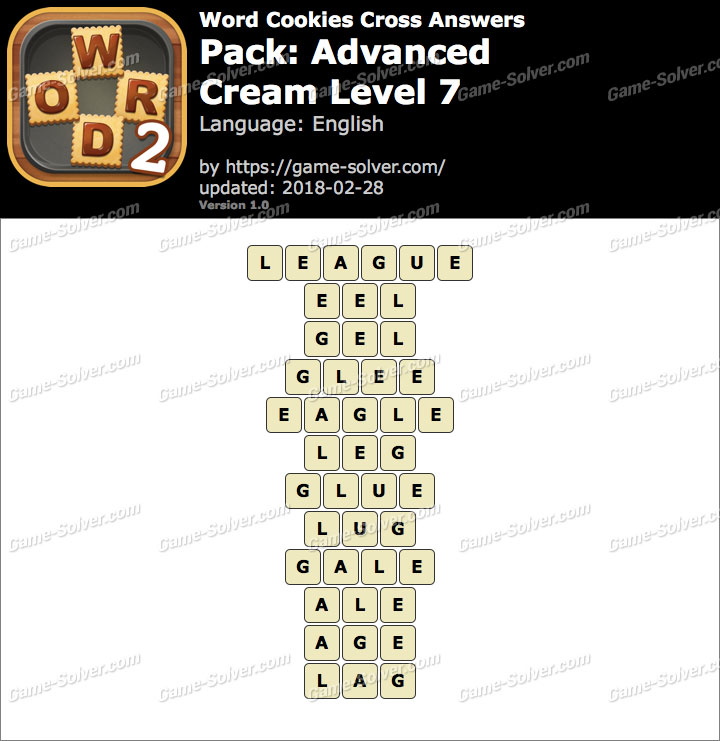 Word Cookies Cross Advanced-Cream Level 7 Answers