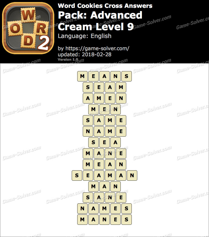 Word Cookies Cross Advanced-Cream Level 9 Answers