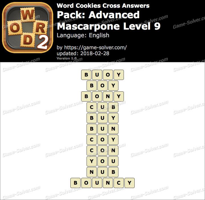 Word Cookies Cross Advanced-Mascarpone Level 9 Answers