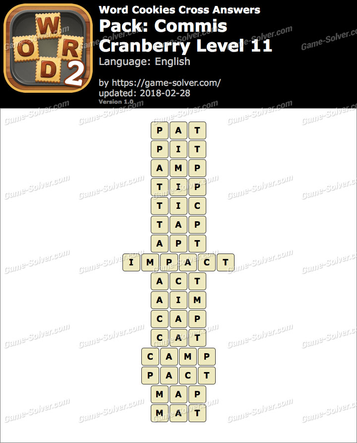 Word Cookies Cross Commis-Cranberry Level 11 Answers