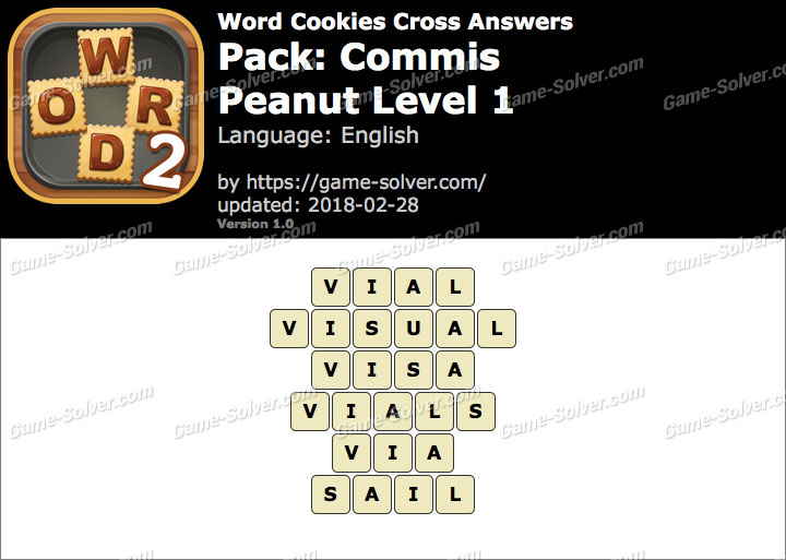 Word Cookies Cross Commis-Peanut Level 1 Answers