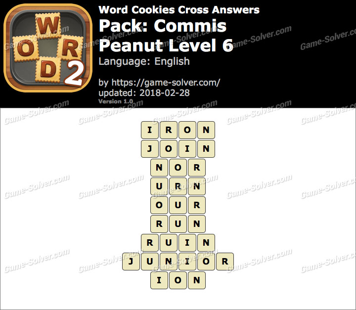 Word Cookies Cross Commis-Peanut Level 6 Answers