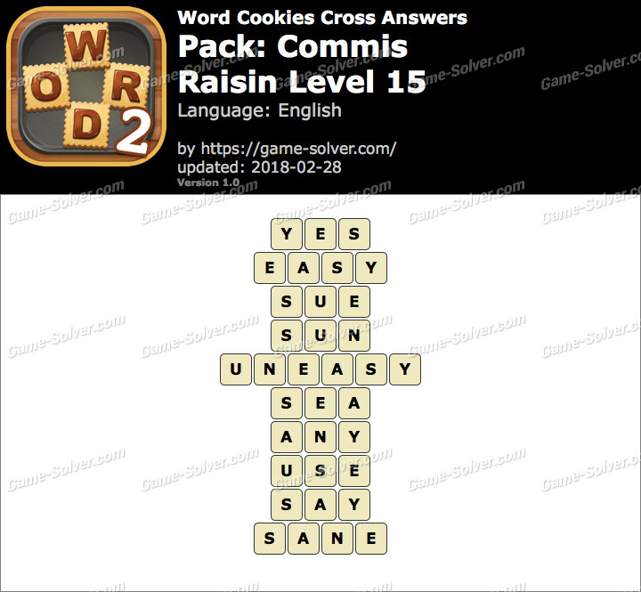 Word Cookies Cross Commis-Raisin Level 15 Answers