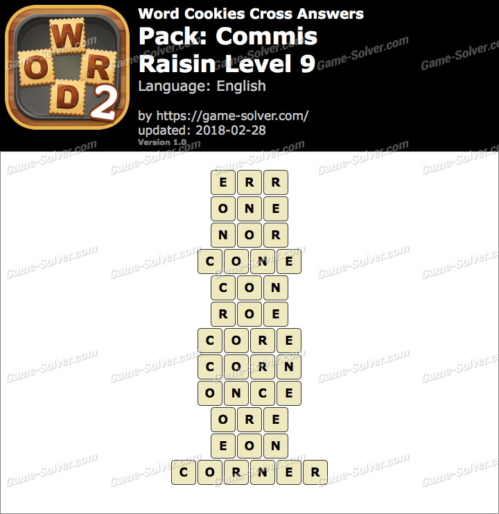 Word Cookies Cross Commis-Raisin Level 9 Answers