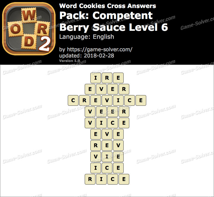 Word Cookies Cross Competent-Berry Sauce Level 6 Answers