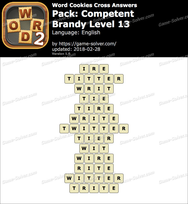 Word Cookies Cross Competent-Brandy Level 13 Answers