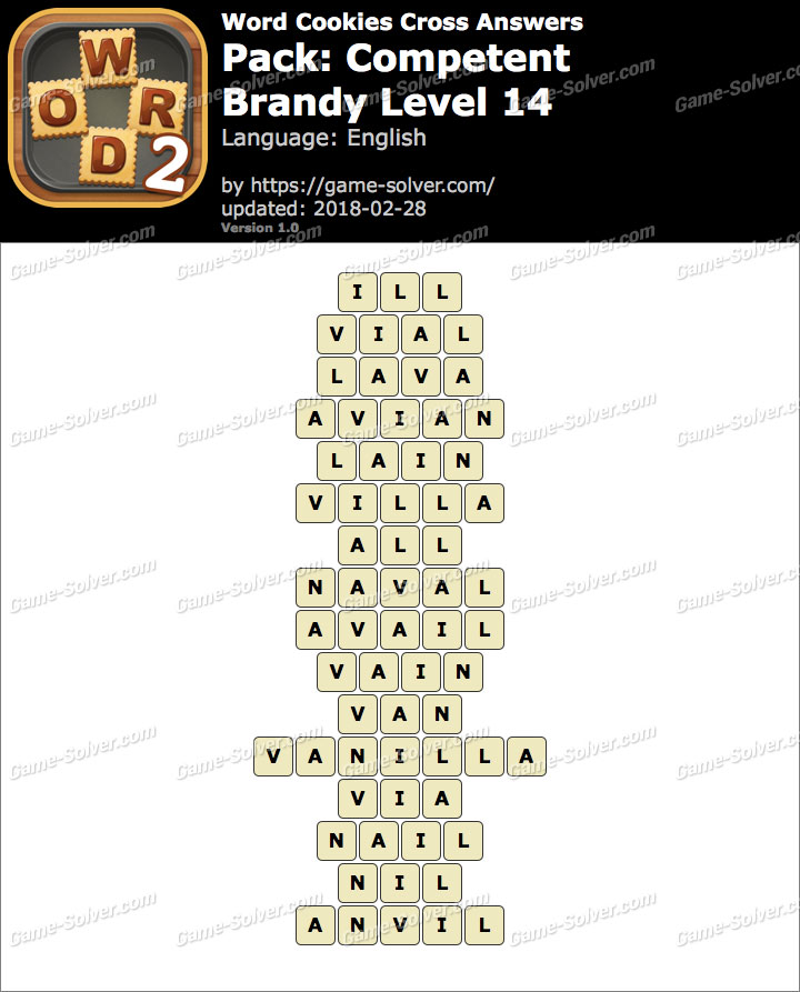 Word Cookies Cross Competent-Brandy Level 14 Answers
