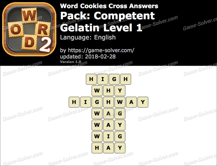 Word Cookies Cross Competent-Gelatin Level 1 Answers