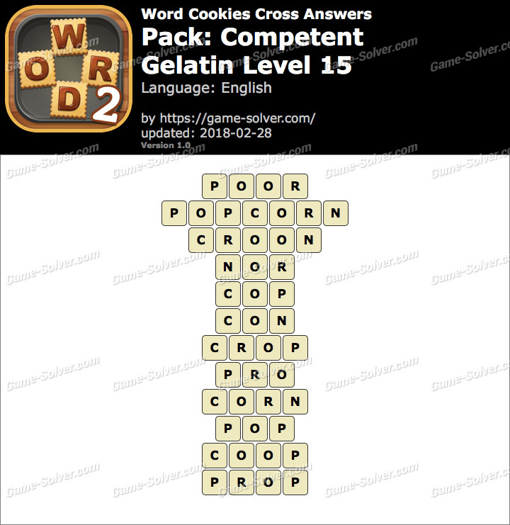 Word Cookies Cross Competent-Gelatin Level 15 Answers