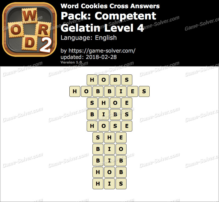 Word Cookies Cross Competent-Gelatin Level 4 Answers