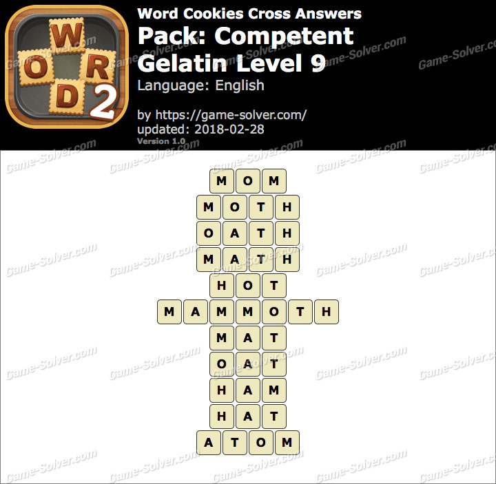 Word Cookies Cross Competent-Gelatin Level 9 Answers