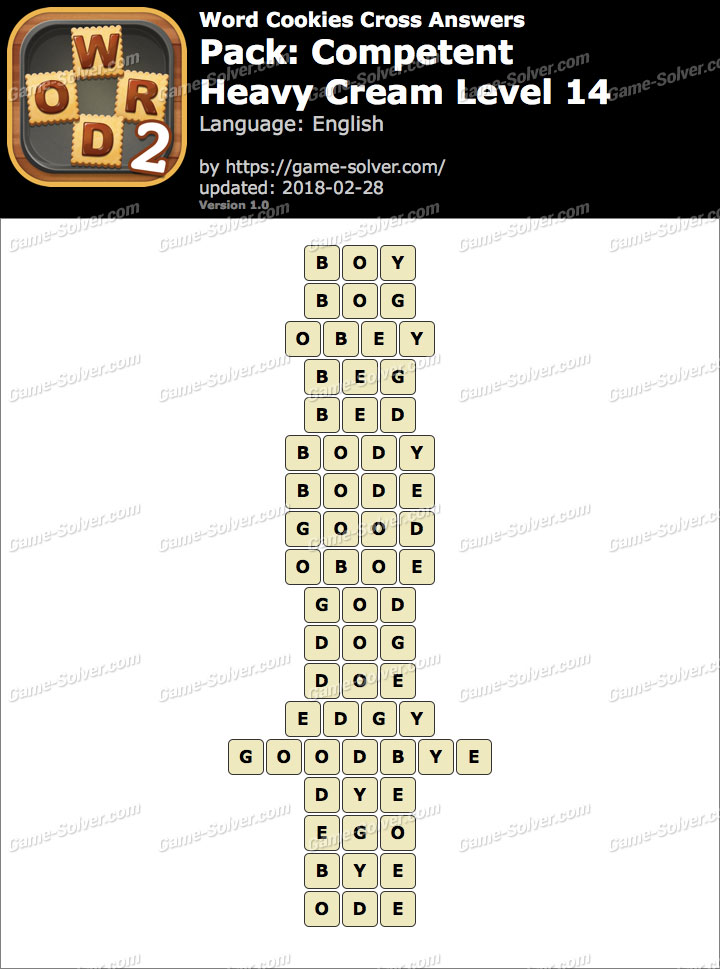 Word Cookies Cross Competent-Heavy Cream Level 14 Answers