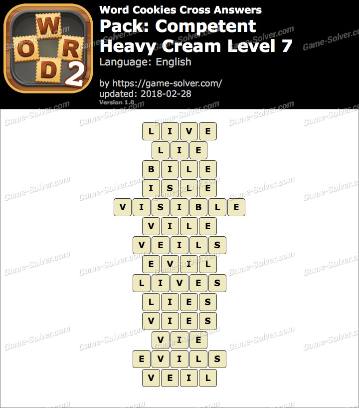 Word Cookies Cross Competent-Heavy Cream Level 7 Answers