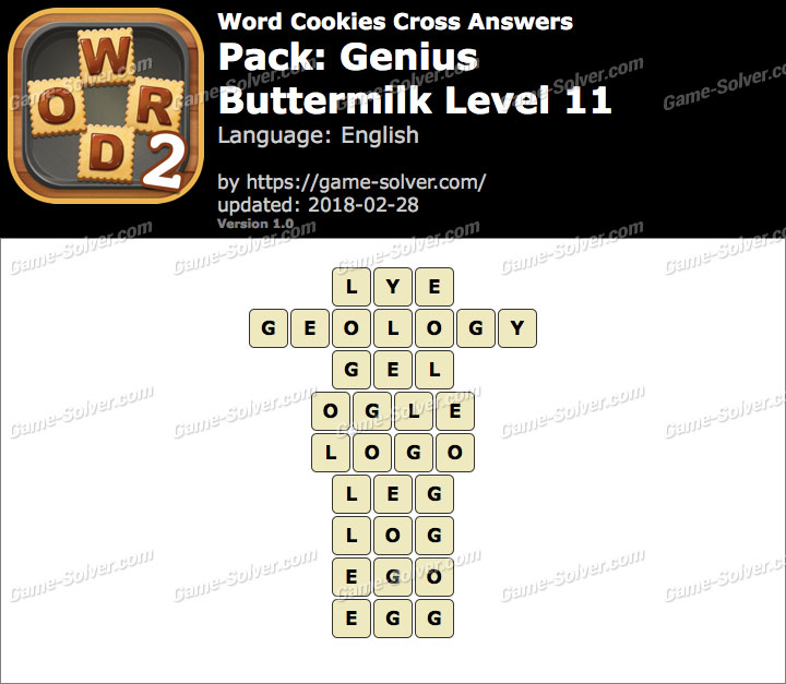 Word Cookies Cross Genius-Buttermilk Level 11 Answers