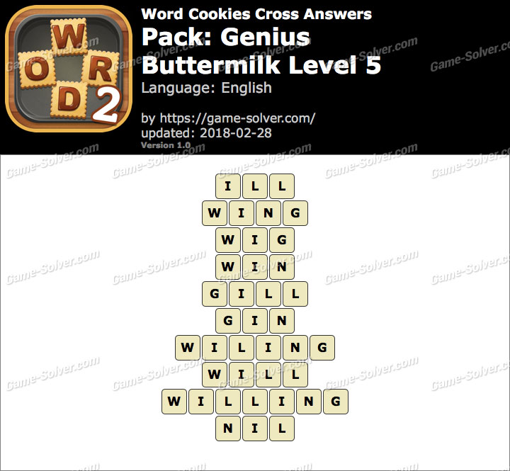 Word Cookies Cross Genius-Buttermilk Level 5 Answers