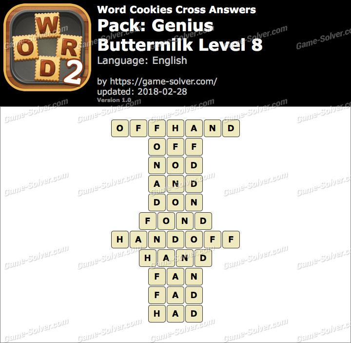 Word Cookies Cross Genius-Buttermilk Level 8 Answers