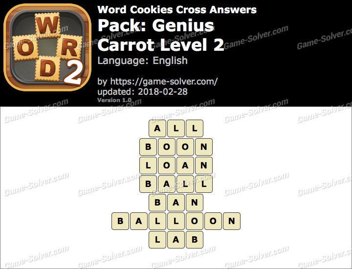 Word Cookies Cross Genius-Carrot Level 2 Answers