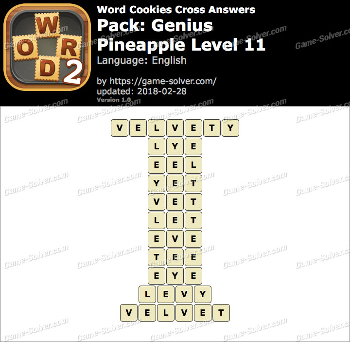 Word Cookies Cross Genius-Pineapple Level 11 Answers