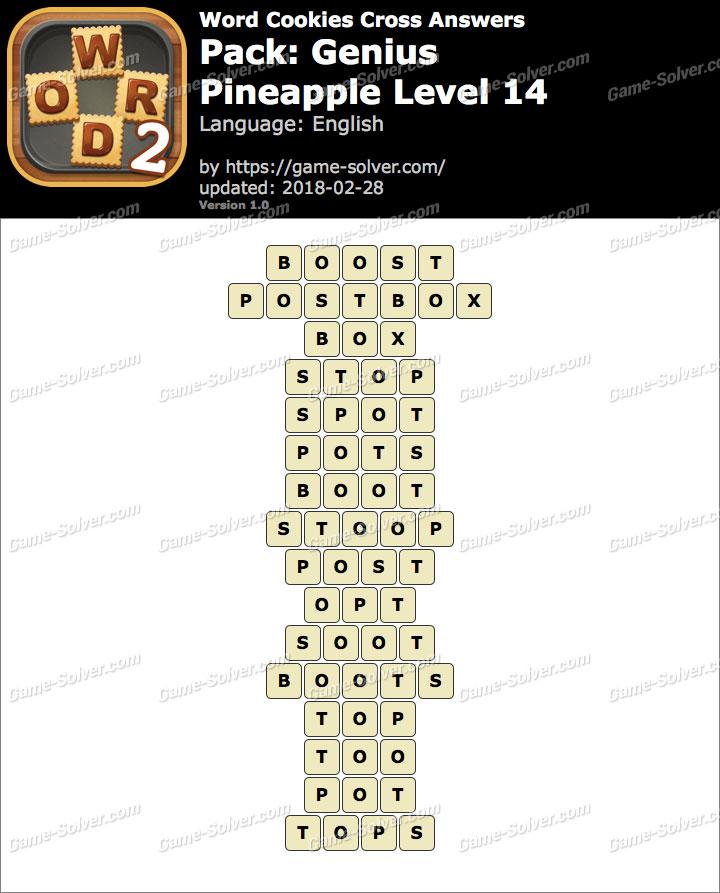 Word Cookies Cross Genius-Pineapple Level 14 Answers