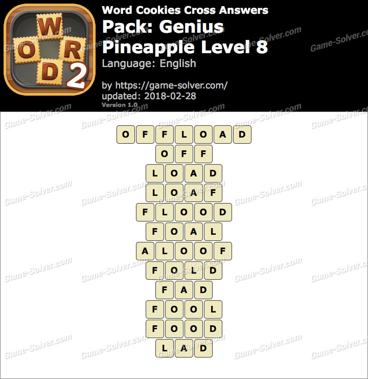 Word Cookies Cross Genius-Pineapple Level 8 Answers