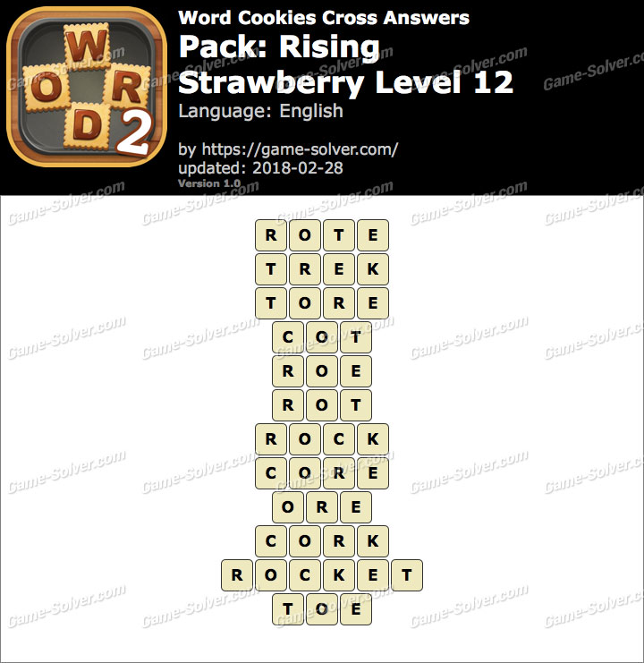 Word Cookies Cross Rising-Strawberry Level 12 Answers