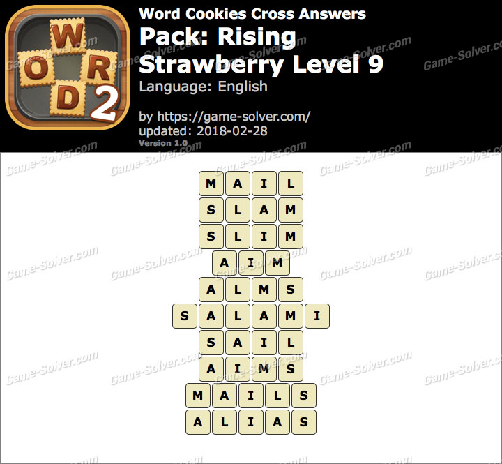 Word Cookies Cross Rising-Strawberry Level 9 Answers