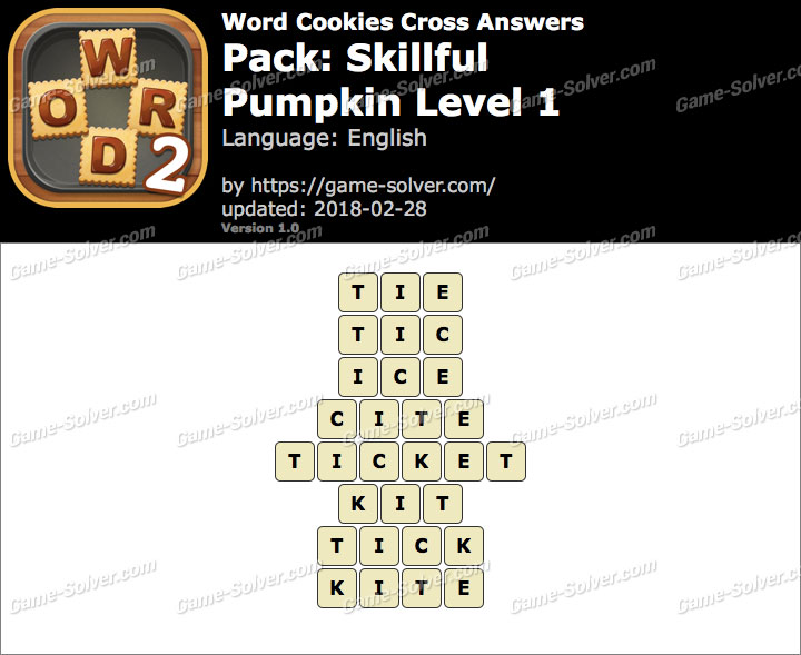 Word Cookies Cross Skillful-Pumpkin Level 1 Answers