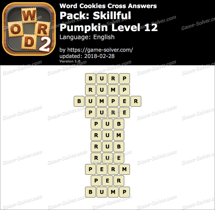 Word Cookies Cross Skillful-Pumpkin Level 12 Answers