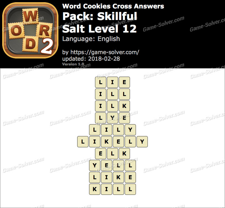 Word Cookies Cross Skillful-Salt Level 12 Answers